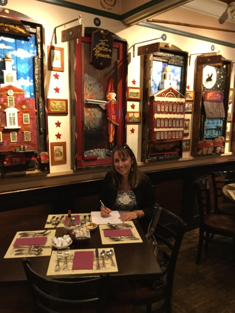 Signing Contract at Union Oyster House. Brad and Annie eat at this table!