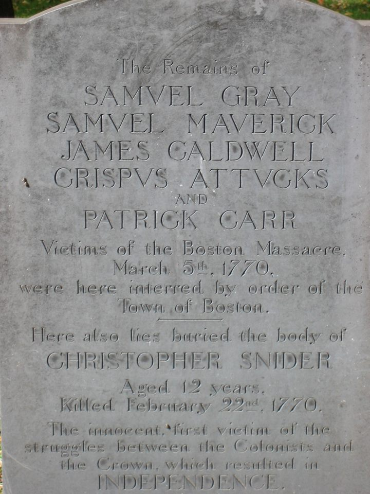 Gravestone of Victims of Boston Massacre