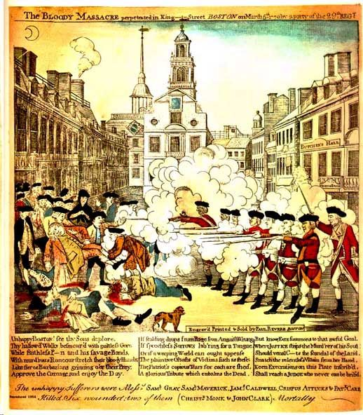 Paul Revere's Engraving of the Boston Massacre (Old State House in back).