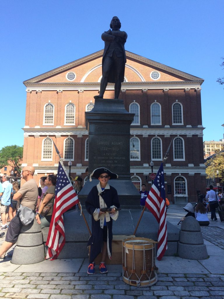 Faneuil Hall and Statue of Samuel Adams (with James dressed as Patriot)