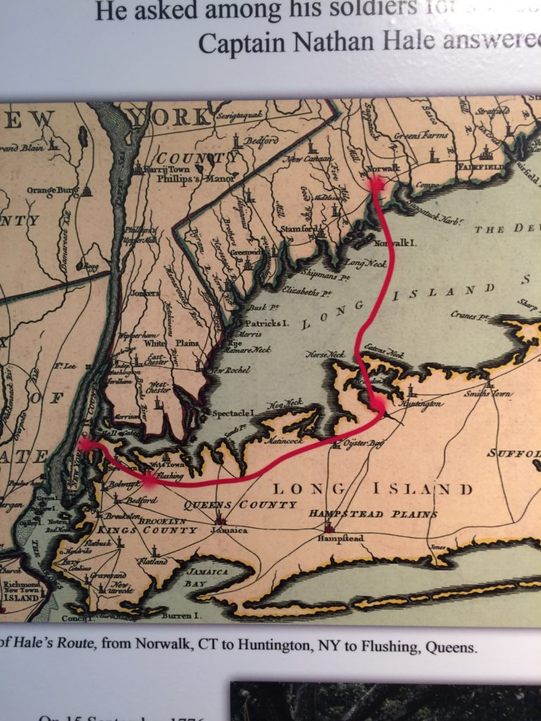 The route of Captain Nathan Hale. Photo Courtesy of Three Village Historical Society